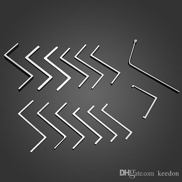 Yüksek kaliteli 14 takım çubuk anahtarı paslanmaz çelik kilit çekme seti profesyonel çilingir aracı