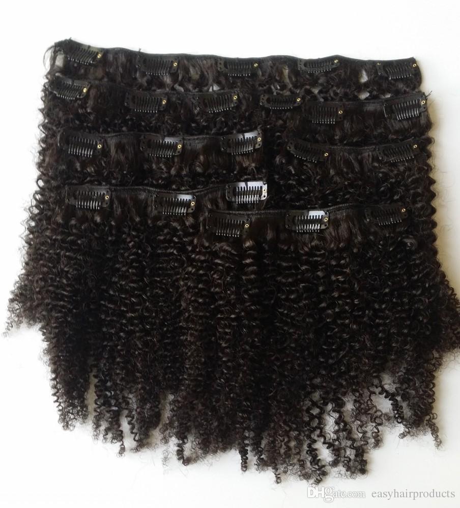 Grampo Em Extensões Do Cabelo Humano Afro Kinky Encaracolado Cabelo Humano Brasileiro Natural Clipe Preto No Cabelo G-EASY