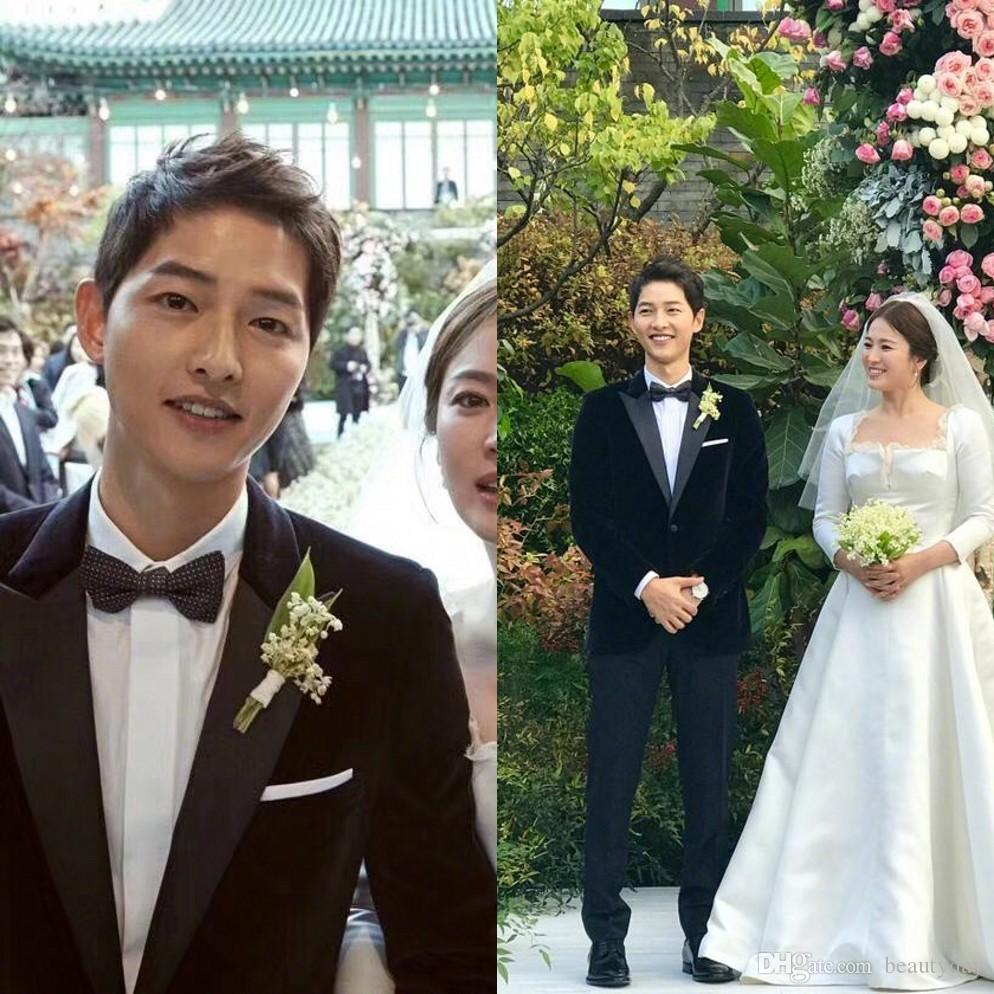 Song Joong Ki Slim Fit 2018 Groom Tuxedos Wedding Suits Custom Made