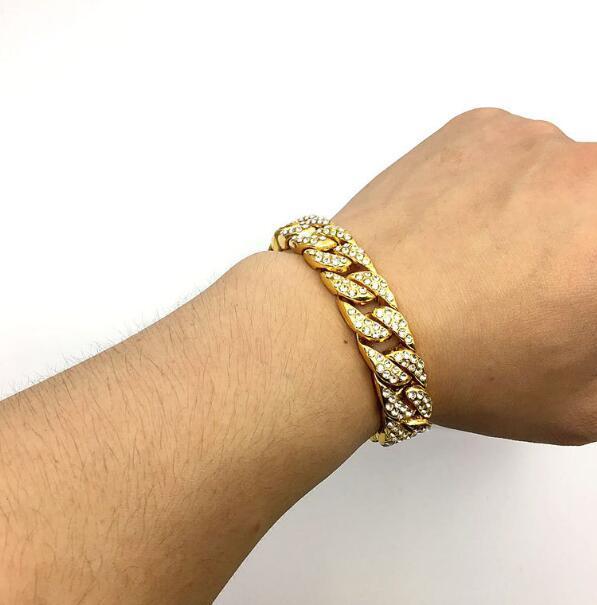 Bracciale a catena da donna Hiphop Iced Out Curb Cuban Link Bracciale placcato in oro bianco con braccialetto di diamanti con strass chiari