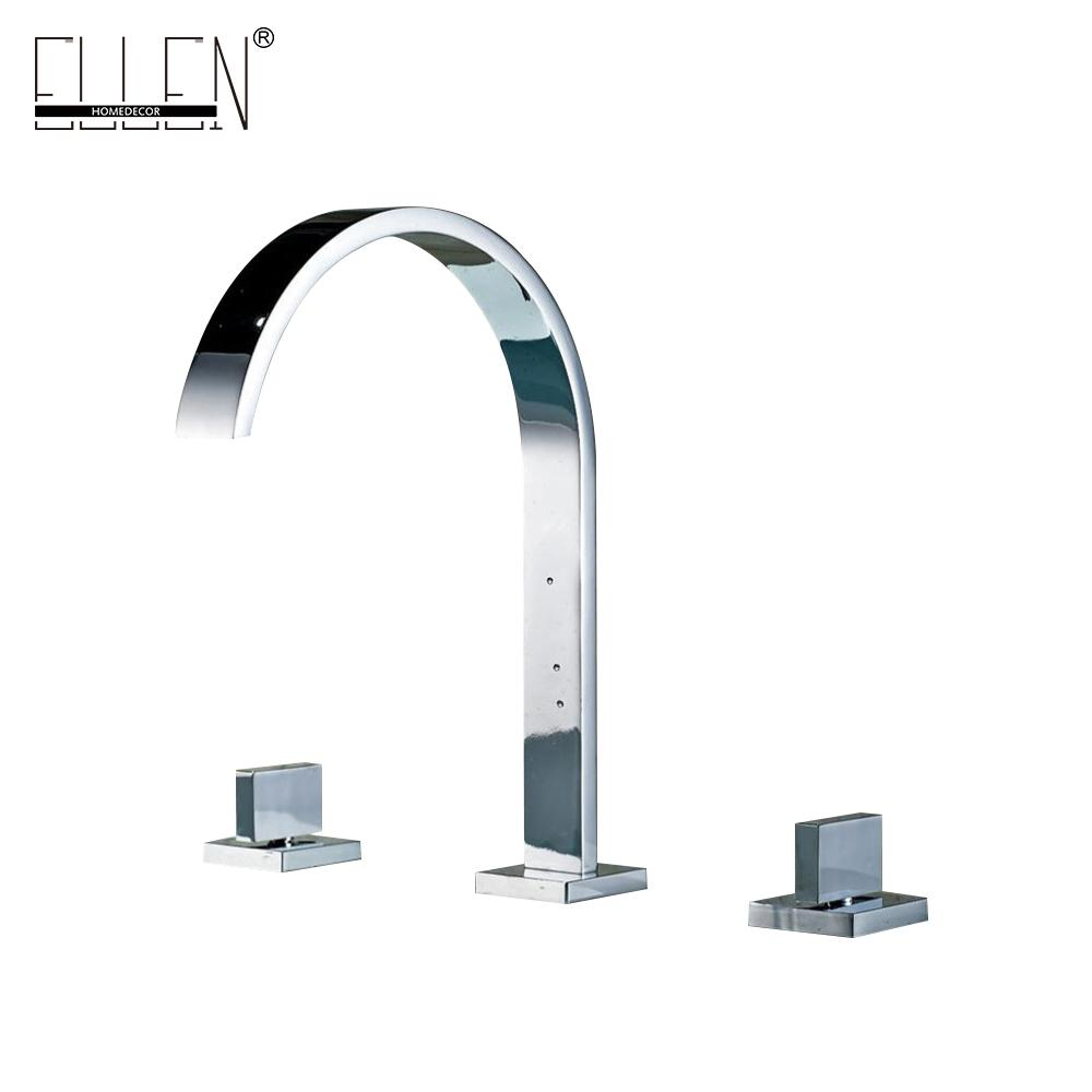 Deck Mounted Double Handle Bathroom Taps Square Bathroom Faucets 3 ...