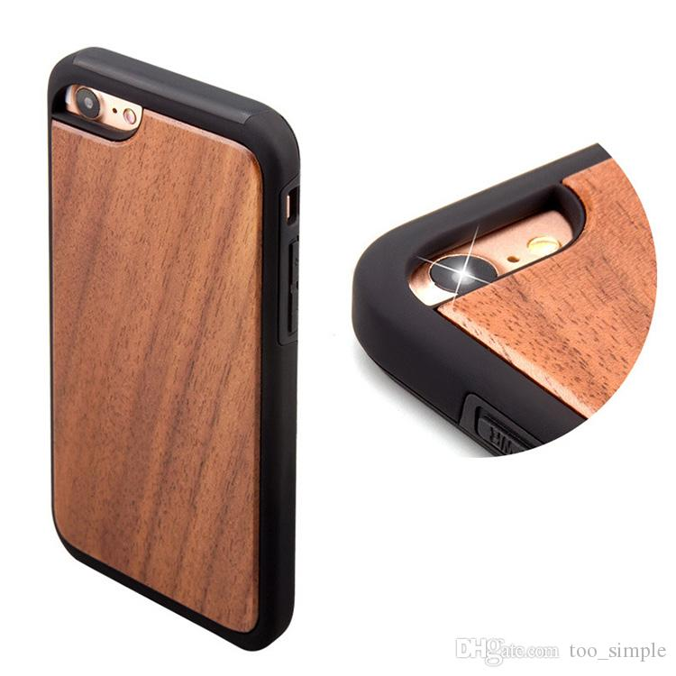 For iPhone 7 8 Real Wood Case Fashion Wooden Soft TPU Screen Protector Shockproof Cases For iphone 6 6s Plus With DHL