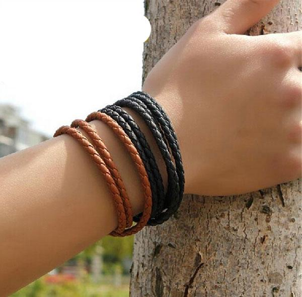 Herren Leder Armreif Armbänder Schwarz / Braun Mesh Magnetic Edelstahl Verschluss Doppel Wrap Armband Schönes Titan Armband für Männer