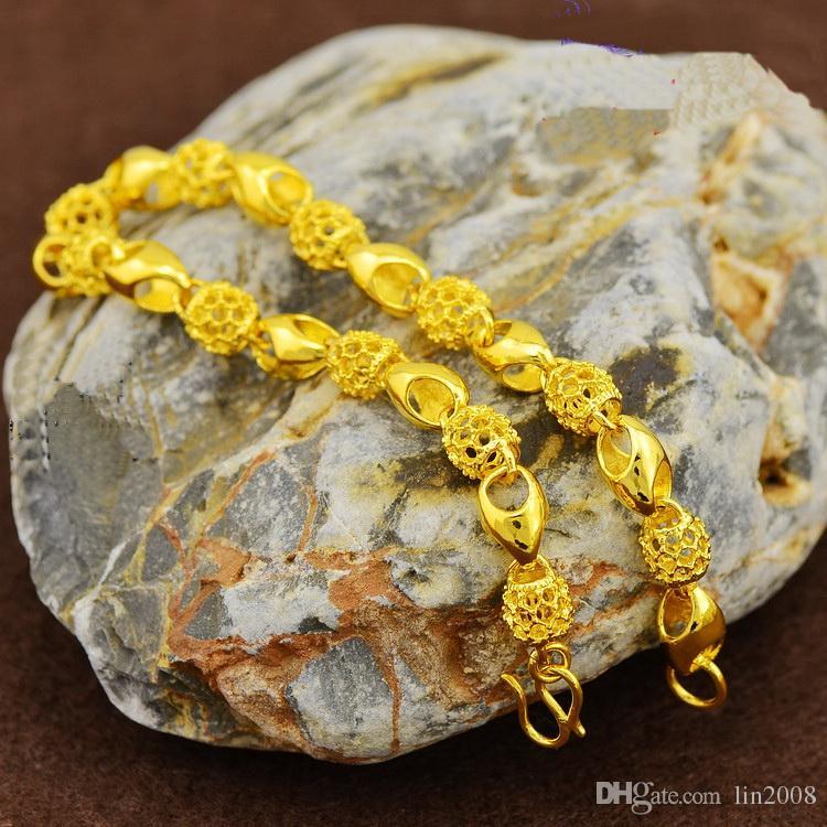 2016 패션 여성을위한 고품질의 절묘한 팔찌, 24k 금도금 황동 중공 비드 pulsera 팔찌 보석