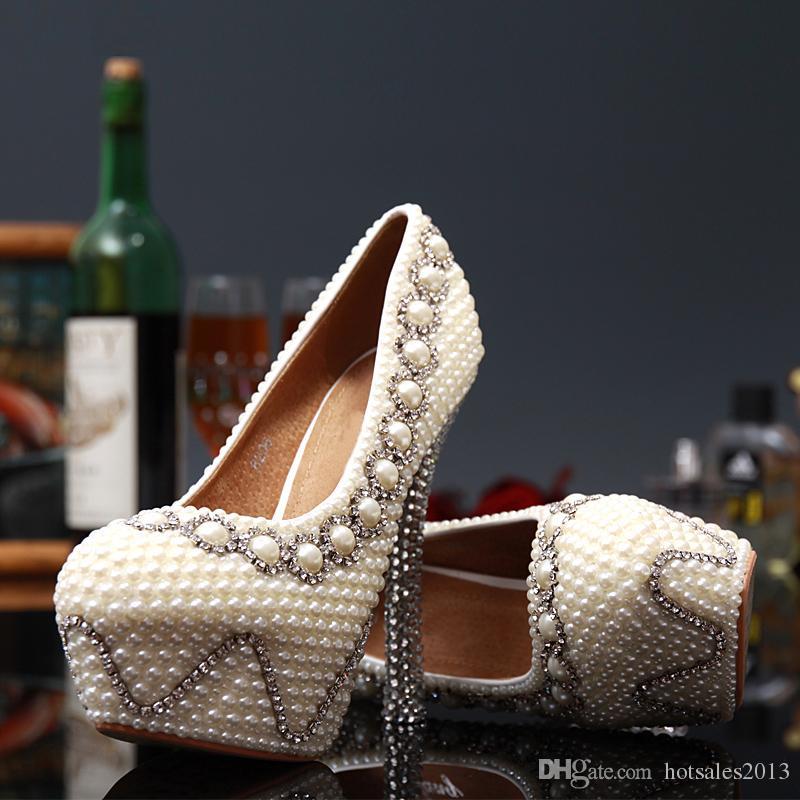 Ручной Работы Белый Цвет Свадебное Платье Обувь Свадебные Туфли Великолепные Супер Туфли На Высоком Каблуке Имитация Жемчужина Горный Хрусталь Обувь