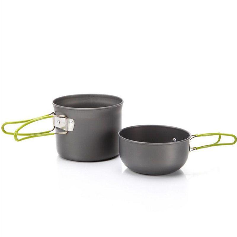 New Camp Kitchen Used Portable Aluminum Alloy Camping Pot Set Pot Bowl Cookware Mini Outdoor Hiking Cooking Pan Set