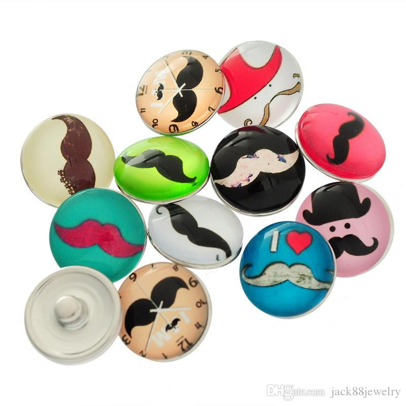 JACK88 Mix Styles Mustache Glass Snap Button Charm 18 mm Button Fit Ginger Snap Button for Nosa Jewelry N466