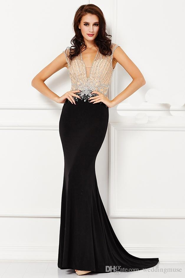 Gorgeous Angela And Alison Formal Evening Dresses Deep V-Neck Backless Heavy Beaded Handmade Mermaid Black Long Evening Party Prom Dresses