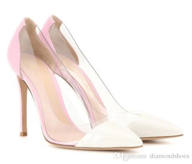 2017 Transpatent Klar PVC High-Heel hochzeit Schuhe frauen Spitz Pumps Rosa Nude Gold Rot Lackleder Frauen Kleid Schuhe