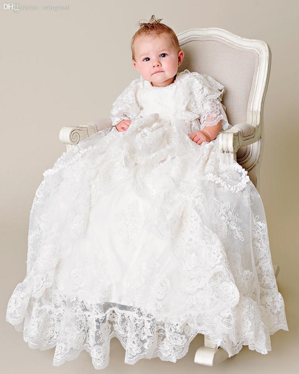 2018 Wholesale Heirloom Style Back Button Silk Baptism Dress Three ...