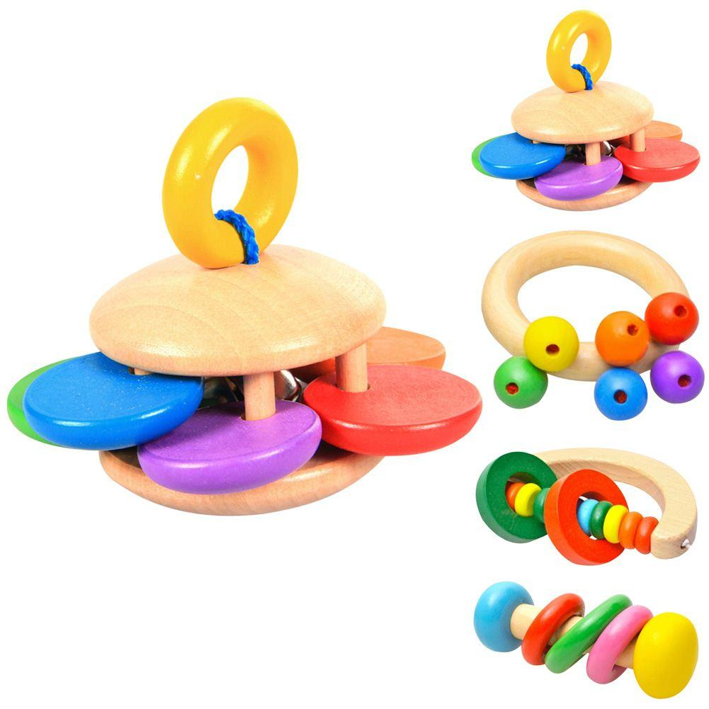 Baby Kids Wooden Bell Rattle Toy Baby Handbell Musical Educational Instrument Rattles For Toddlers Babies Juguetes