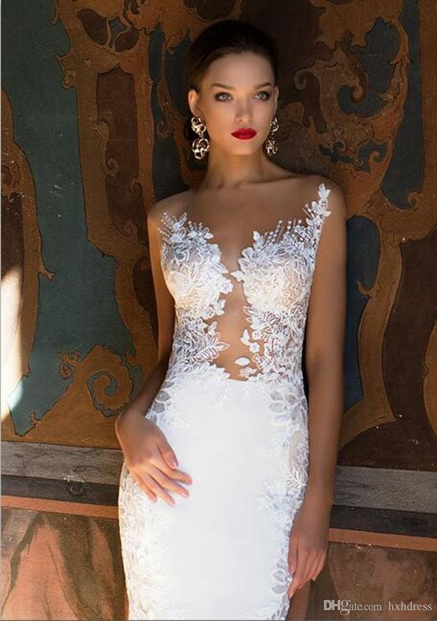 2020 Nova Milla Nova Sereia vestidos de casamento Sexy Sheer Neck Open Back completa Lace Wedding Dress Praia vestidos de noiva 392