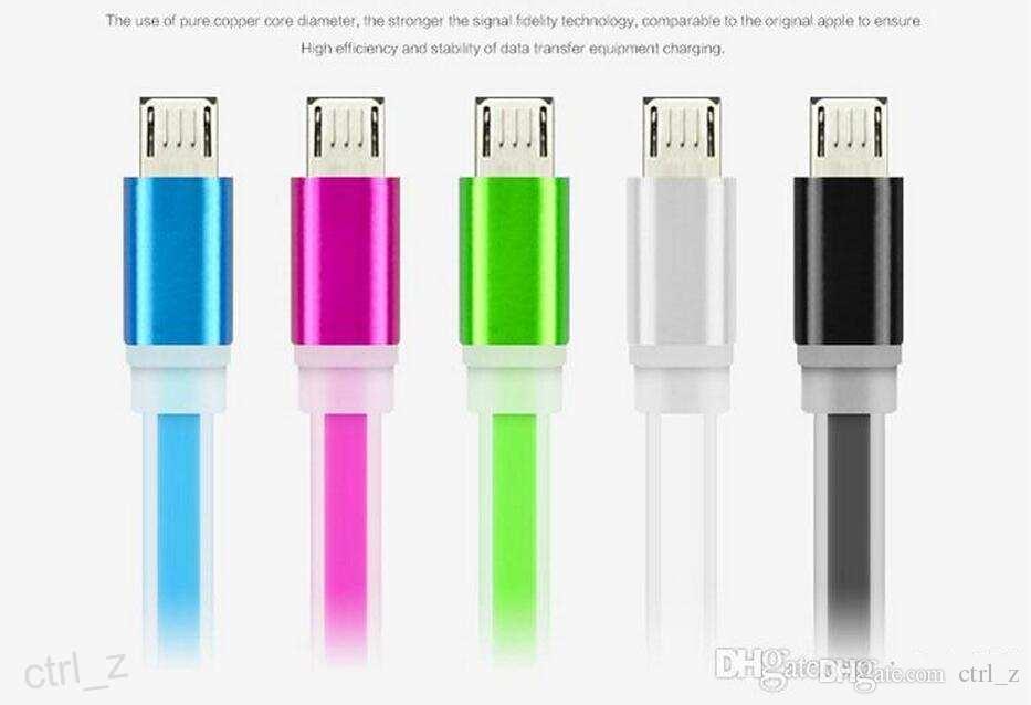 Süßigkeitfarbe Mikro-Usb-Kabel Coloful flaches Nudel-Datums-Synchronisierungs-Aufladungsblinkendes Kabel für Samsung HTC Sony Smart-Telefon mit Kristalleinzelverkaufskasten