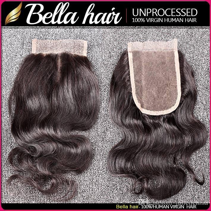 Bella Hair® Pacotes cabelo brasileiro com fecho 8-30 extensões de cabelo Duplo trama Humano Tece cabelo Encerramento da onda do corpo ondulado Julienchina