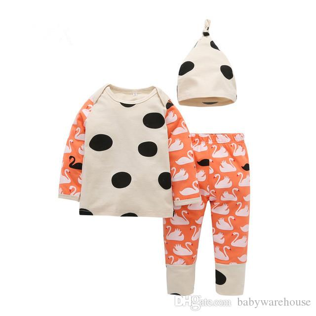 7dfea7ce8bcd8 Newborn Baby Clothes 2018 Spring Autumn Cotton Girls Clothing Set Swan Dot  Printing Tops Pants Hat 3Pcs Girls Set Toddler Kids Clothing Suit