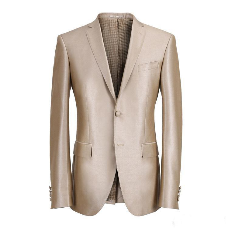 Custom Made Slim Fit Two Buttons Groom Tuxedos Notch Lapel Groomsmen Men Wedding Suits
