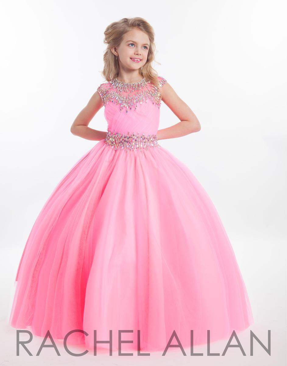2016 Rachel Allan Girls Pageant Dresses For Teens Illusion Neck Cap Sleeve Crystal Beades Pink Long Size 13 Party Kids Flower Girl Gowns