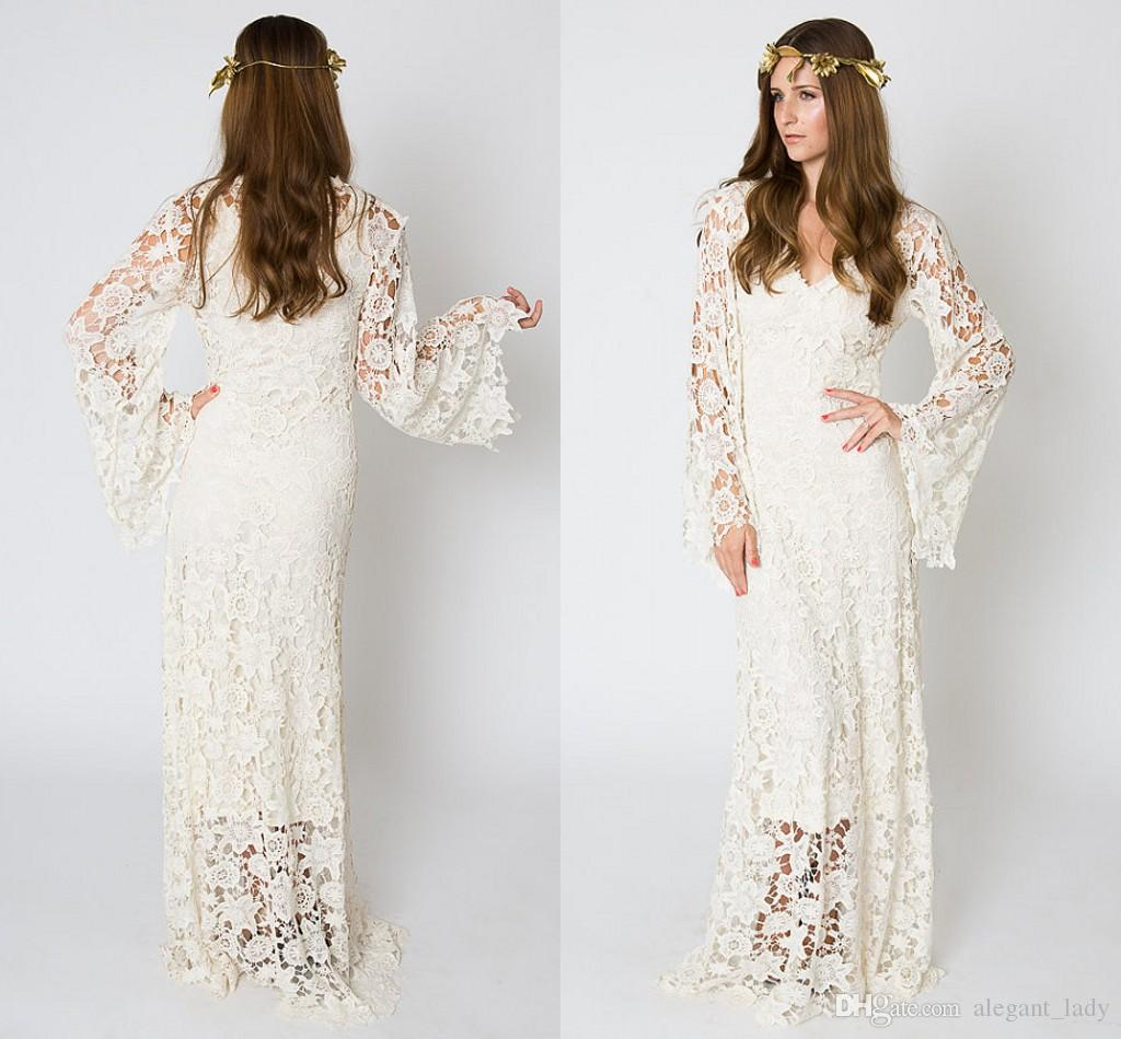 Discount Vintage Inspired Bohemian Wedding Gown Bell Sleeve Lace