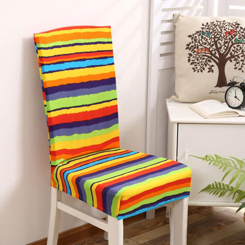Smiry Spandex Elastic Dustproof Wedding Party Chair Covers Rainbow Color Striped Geometric Dining Seat