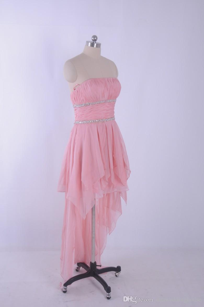 2015 rosa a buon mercato abiti da ballo con crsytal perline hi lo spettacolo pageant abiti da festa immagine reale 100% chiffon vestito da partito