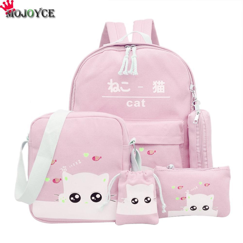Women Backpack Cat Printing Canvas School Bags For Teenager Girls Preppy Style /PC Rucksack Cute Book Bag Mochila Feminina