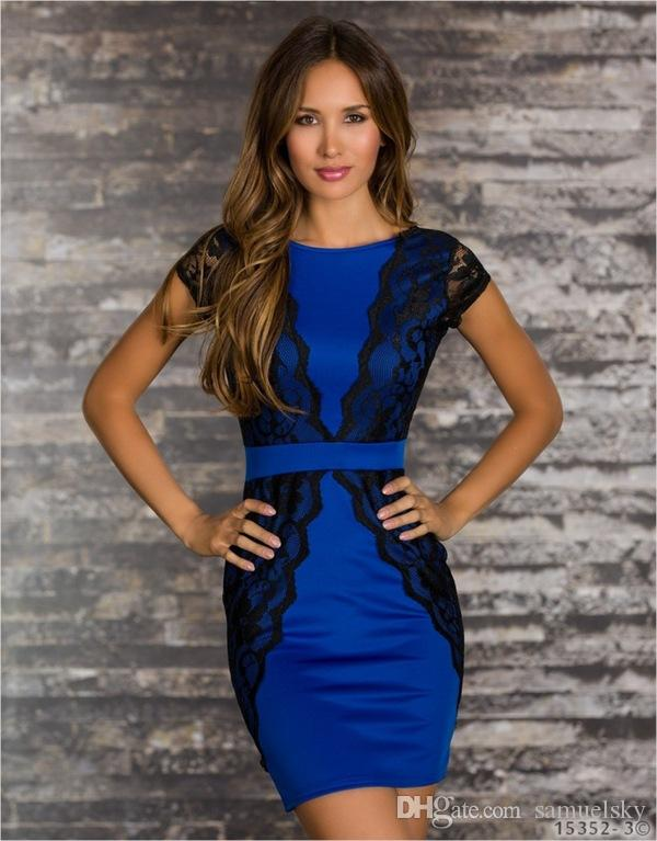 5dff76ee68da4 good Quality Blue Red White ladies dress Short Sleeve backless O-Neck  Sheath Patckwork Bodycon Mini sexy Lace Dresses Women S-XL Best Price
