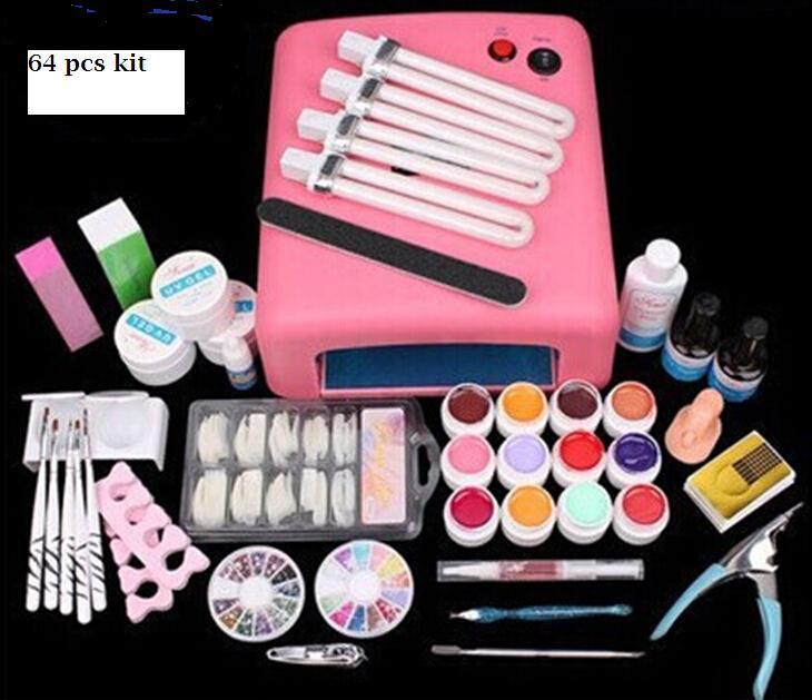 New 36W UV Dryer Lamp Timer Block Sanding French Nail Art Tips Gel Tools DIY Kit manicure set pink lamp