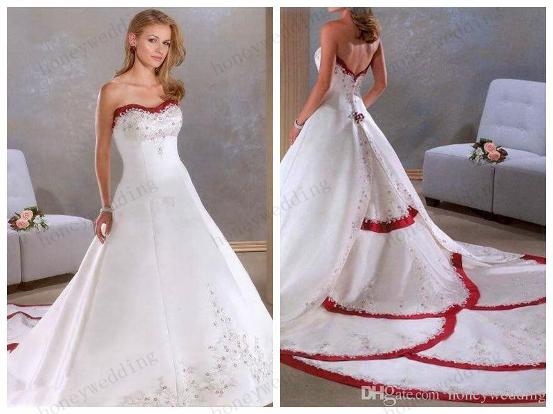 Discount Wedding Dresses Strapless Embroidery Red And
