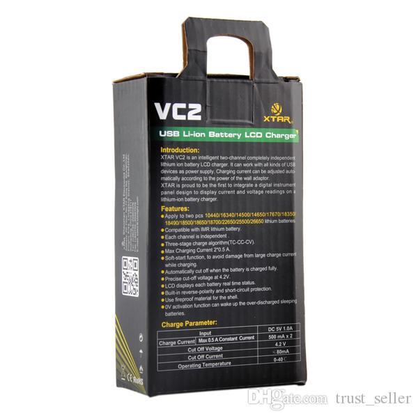 Carregador de bateria original do XTAR VC2 Intellichage Multifunctional com exposição para baterias do Li-íon / IMR de 18350 18650 26650 3.6V / 3.7V