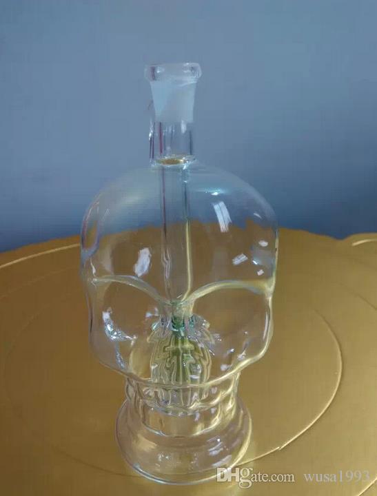 Mayoristas de envío gratis ----- 2015 nuevos huesos de cráneo de vidrio transparente dentro del filtro de narguile / bong de vidrio + accesorios pote, caminar el pl