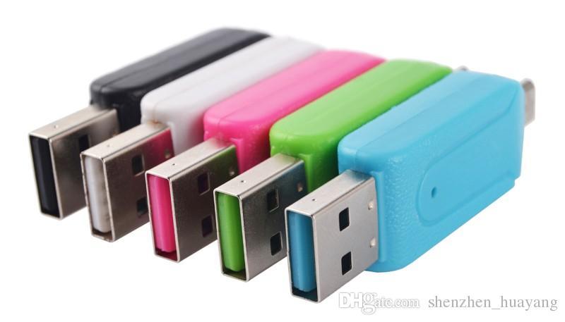 2 في 1 USB ذكر لمايكرو USB مزدوجة فتحة OTG محول مع TF / SD قارئ بطاقة الذاكرة 32GB 4 8 16GB للحصول على الروبوت الهاتف الذكي لوحي جوجل