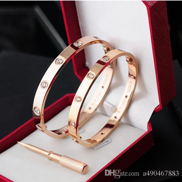 Nouveau style argent rose 18k plaqué or en acier inoxydable carter amour vis bracelet bracelet avec tournevis plein gemme blanche vis ne perd jamais