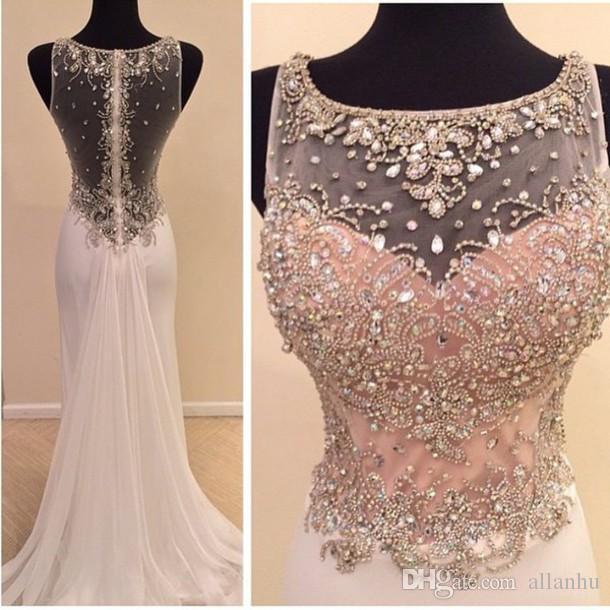 2017 Real Image Vestido de Festa Prom Jurken Ronde Hals Crystal Beads Sparkly Sheer Illusion Sheath Lange Formele Feestjurk Avondjurken