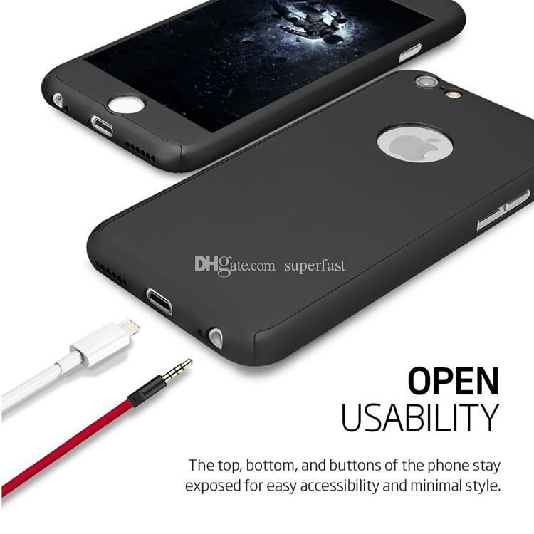 360 Degrés Complet Corps De Protection Cas Ultra-Mince Couverture Cas Pour Apple IPhone X 8 7 6 6 Dur PC Case Avec Sac En Verre Trempé OPP