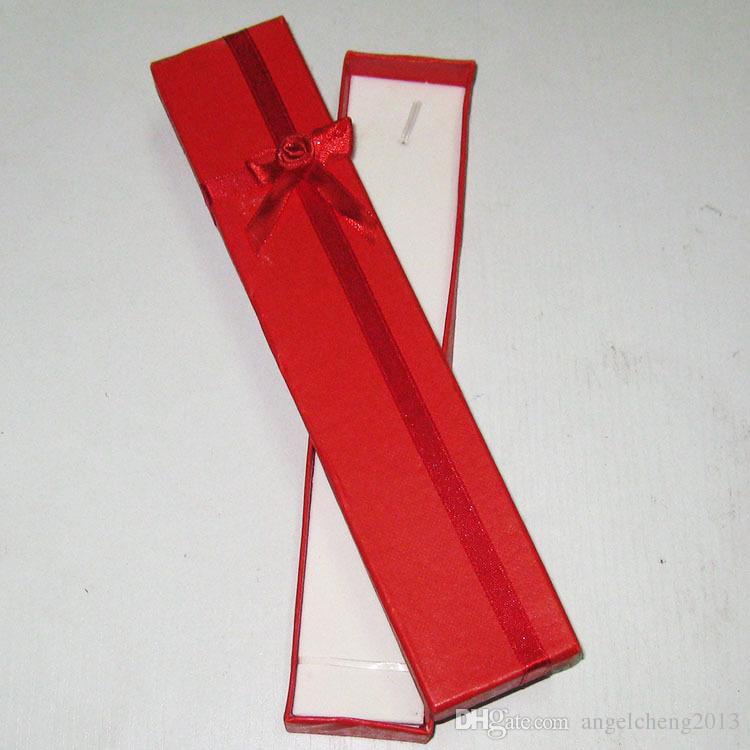 4 * 21 * 2 cm Collar de la joyería Reloj de pulsera Caja de regalo Caja / Color opcional 12 a paquete Embalaje de un solo color enviado
