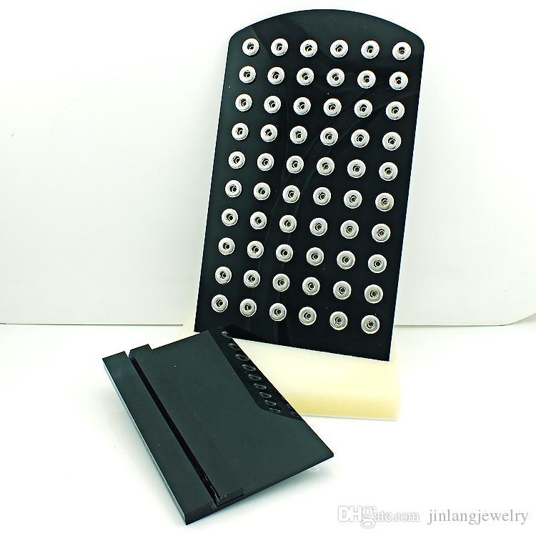 높은 수량 디스플레이 스탠드 패션 12mm 스냅 버튼 블랙 아크릴 교환 보석 금속 디스플레이 케이스 보드