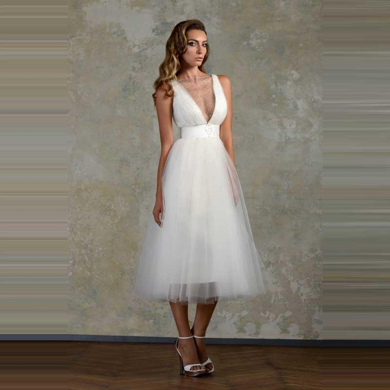 Sexy Gathered Romantic Mid Calf Bridal Gown With Crystal Sleeveless