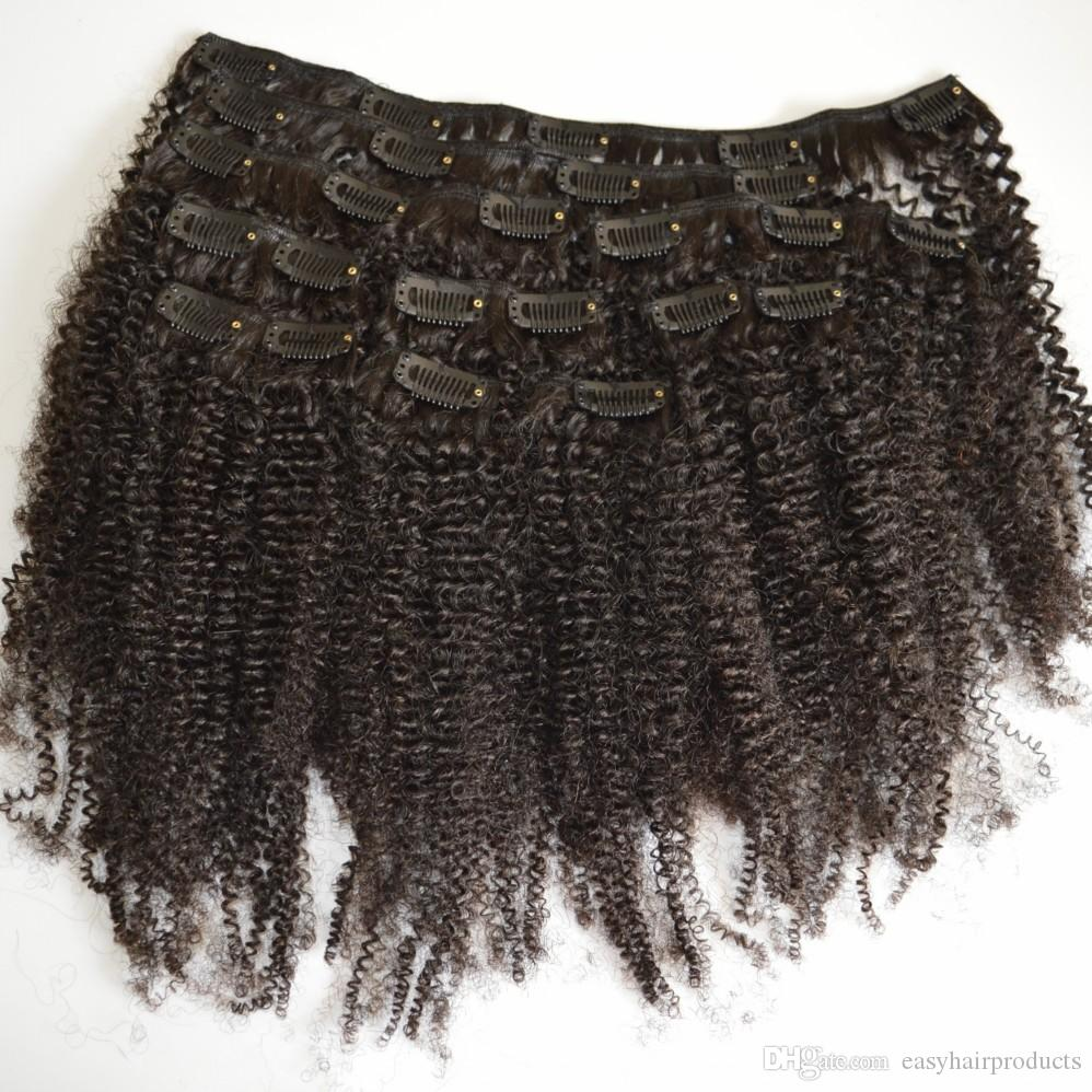 Afro kinky curly Russian clip in hair extensions natural black 3c,4a,4b,4c clip human hair G-EASY Hair products