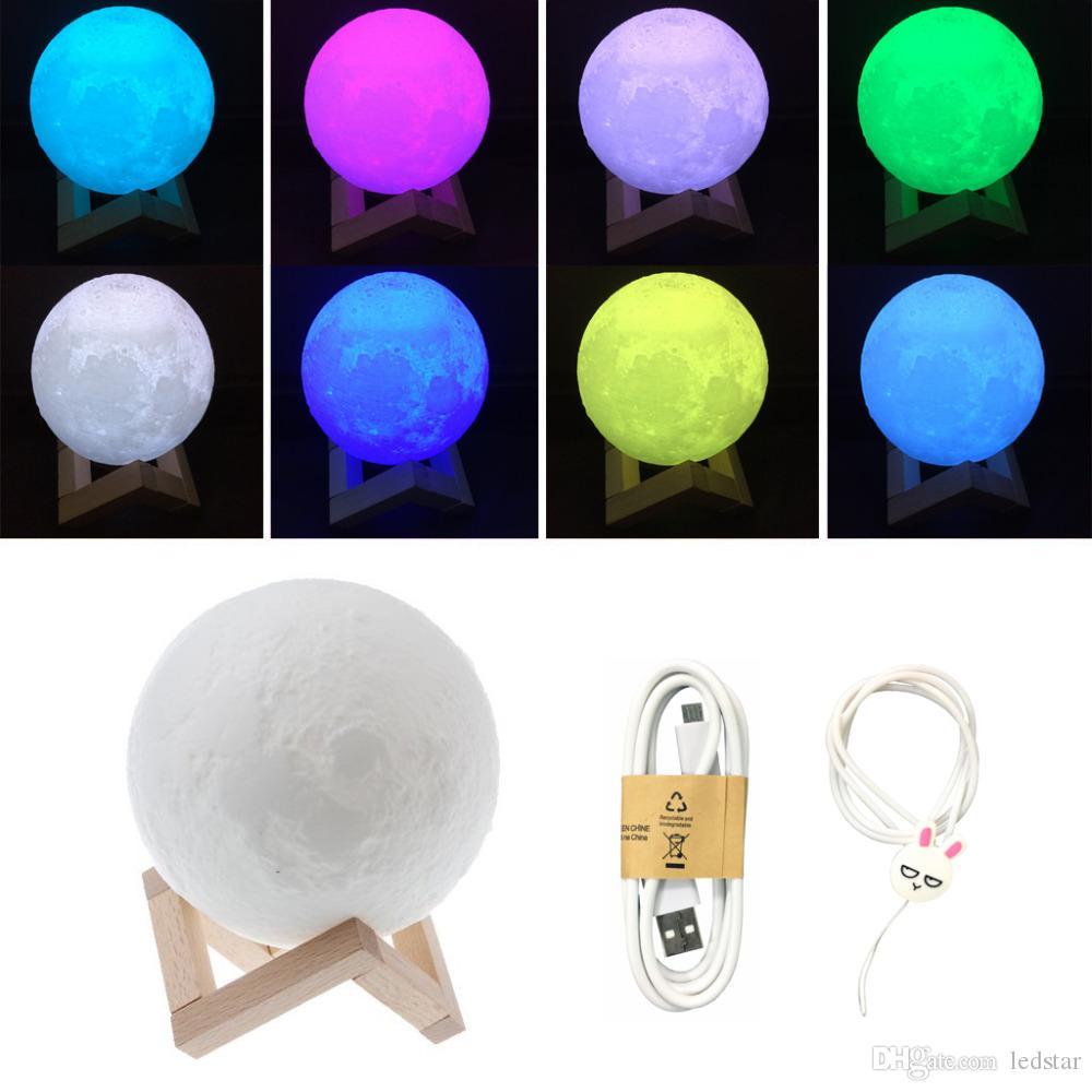 충전식 밤 빛 3D 인쇄 달 램프 9 색 변경 터치 스위치 침실 책장 야간 조명 홈 장식 창조적 인 선물