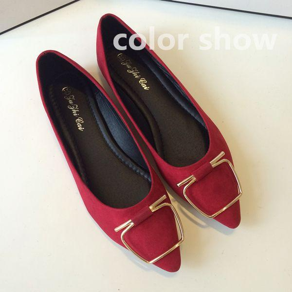 The Korean version of the new 2015 pointed metal buckle shoes Asakuchi flat flat with big feet set code shoes casual shoes @10