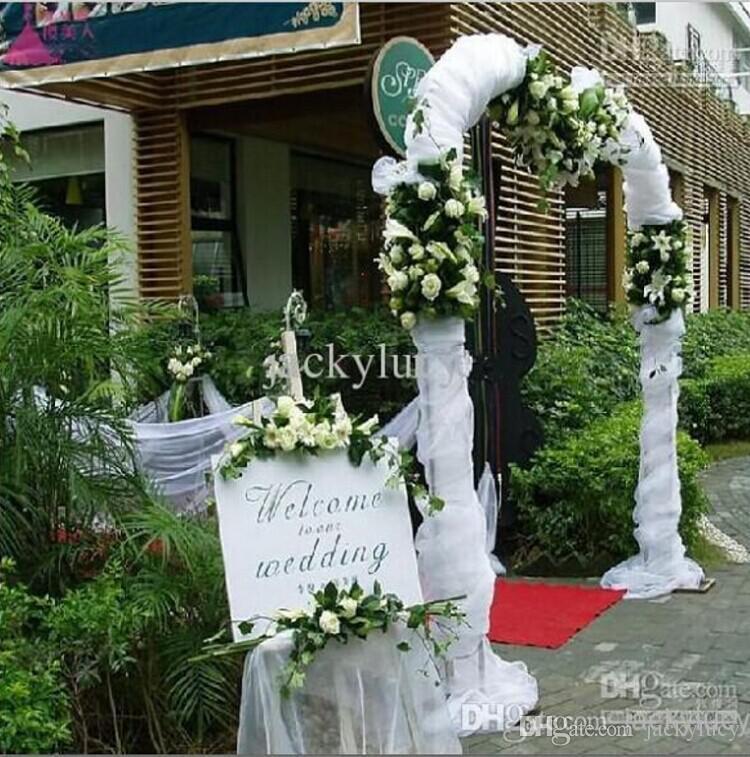 Nueva Funda de hilado de organza blanca Funda para marco de bodas Centros de mesa Suministros Suministros de decoración 50 metros en rollo Envío gratis