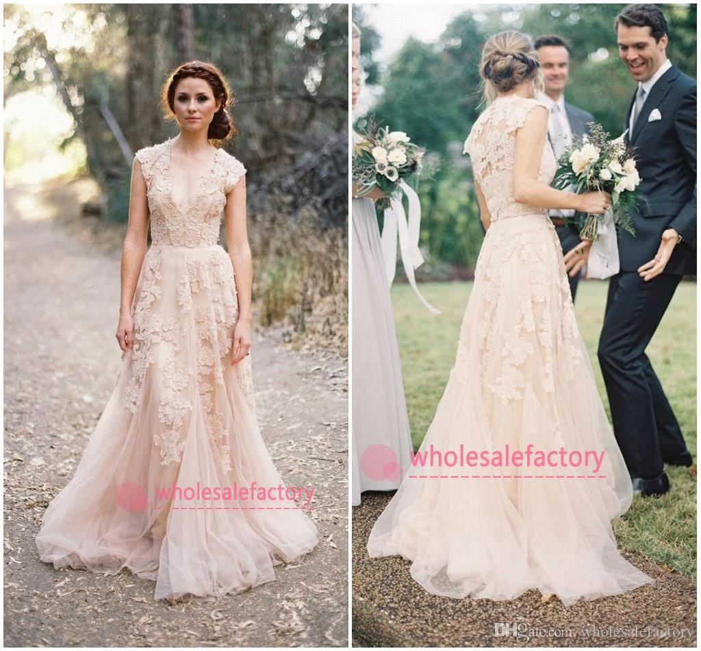 Discount Cheap 2017 Blush Champagne V Neck Lace Wedding Dresses Reem ...