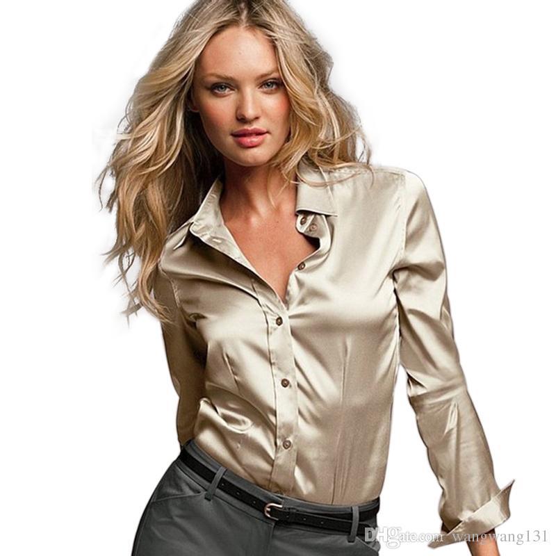 S Xxxl Women Satin Silk Blouse Button Ladies Silk Satin Blouses ...