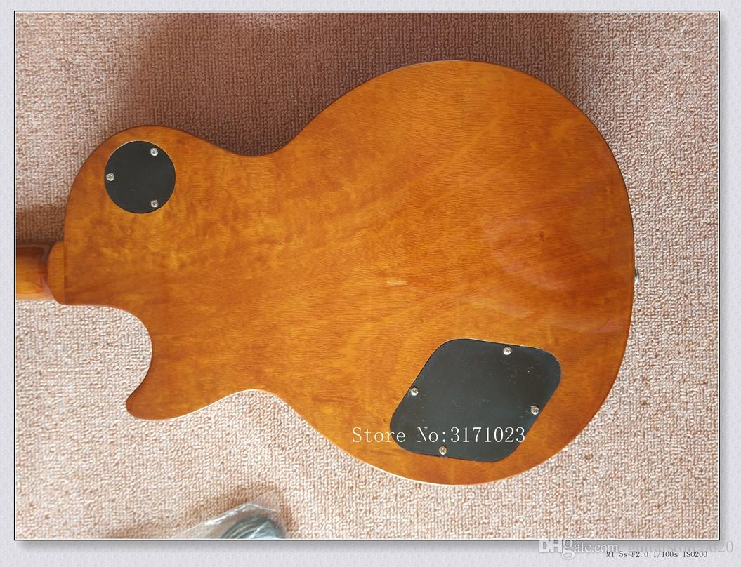 2017 Tiger Flame Maple Top Custom Shop Brown Standard Mahogany Body No Scarf Neck 1959 R9 Electric Guitar
