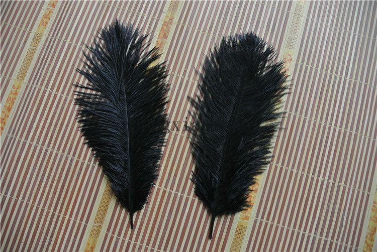 Prefecto Natural Pluma de Avestruz Negro Puro 10-12 pulgadas Decoración de La Boda pieza central de la boda Eiffel centros de mesa fiesta evento suministro decoración