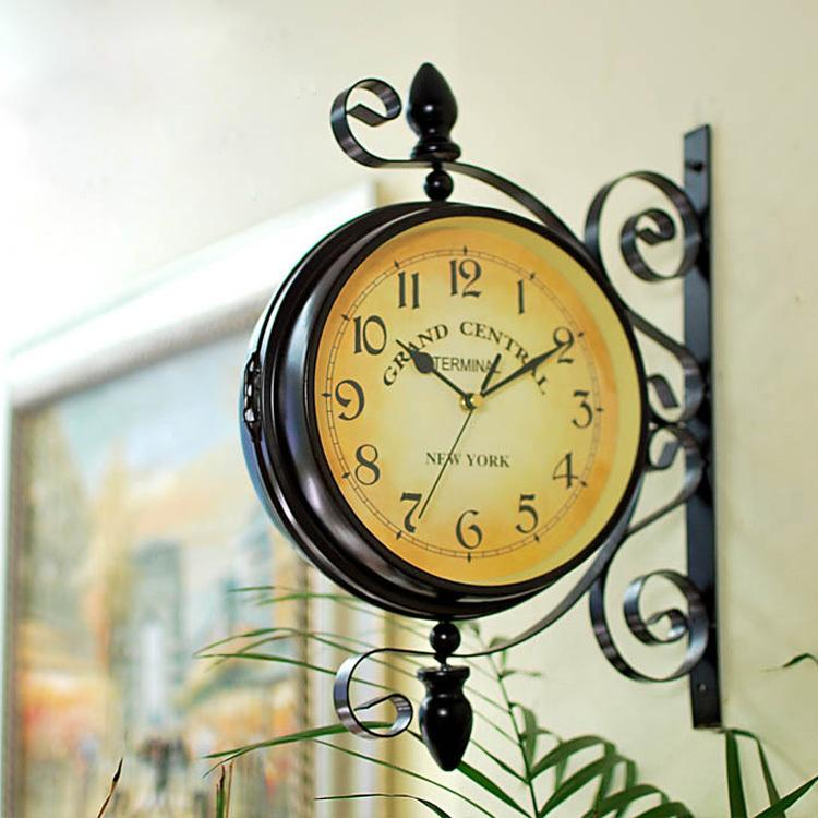 Vintage Wall Clock Safe Double Face Modern Design Kitchen Home Decor ...