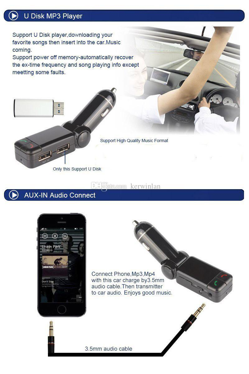 Bluetooth Car Kit BC06 Altavoz inalámbrico para coche BT Manos libres Dual USB Cargador de coche 3.5mm AUX-IN Transmisor FM para Samsung iPhone Mobile