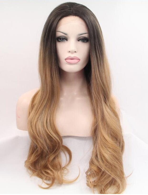 Natural Hair Wigs Black Ombre Golden Brown Lace Front Back Weaving