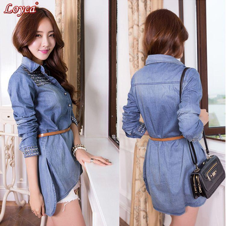 CBRL! Ladies Fashion Rivet Cowboy Denim Shirts Bandage Dresses ...