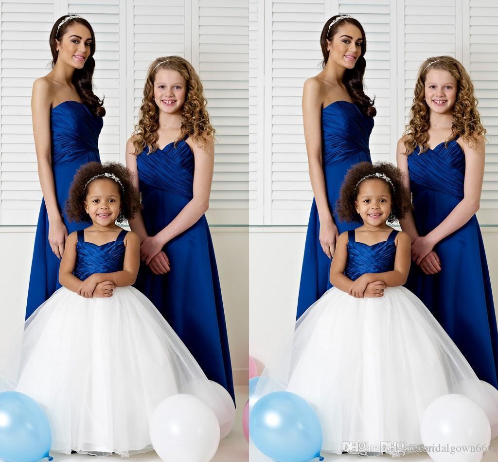 Royal blue and white flower girl dress